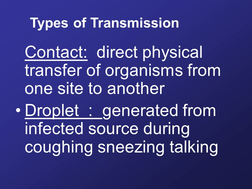 Contact: direct physical transfer of organisms from one site to another Droplet : generated from infected source during coughing sneezing talking Types of Transmission