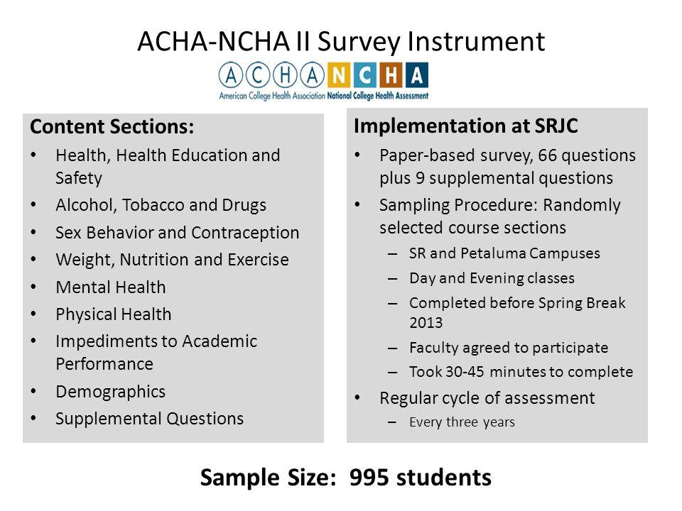 National College Health Assessment Survey Spring 2013 Santa Rosa