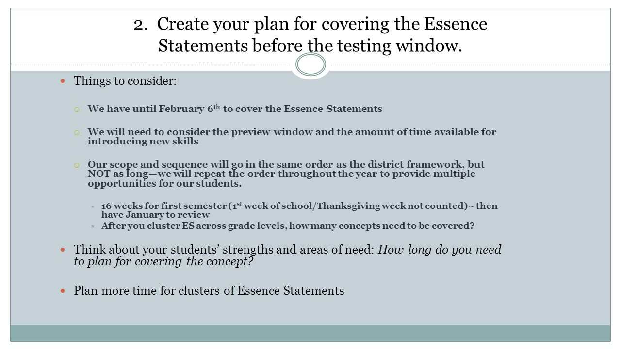 1. Cluster the Essence Statements where applicable. Compare the ...