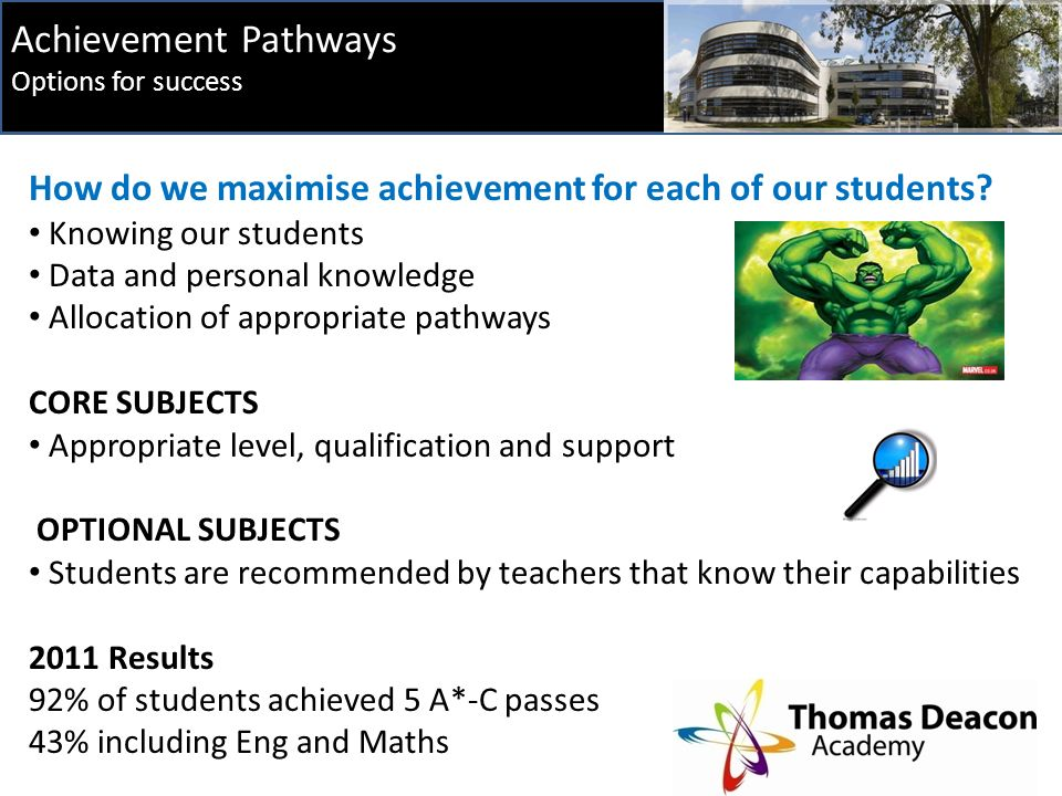 Achievement Pathways Options for success How do we maximise achievement for each of our students.