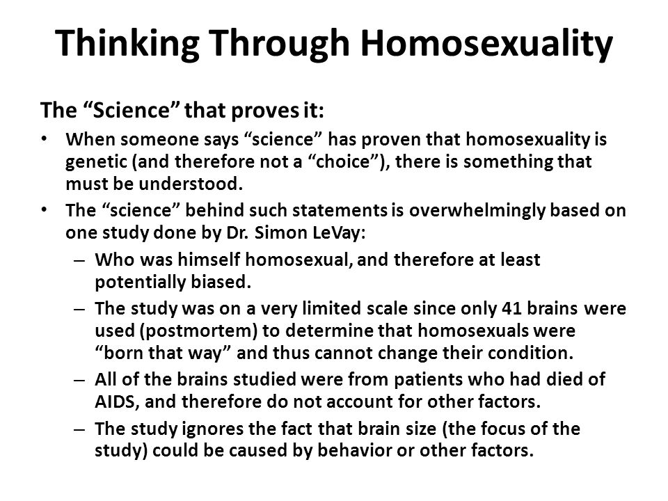 Homosexuality is not a choice study
