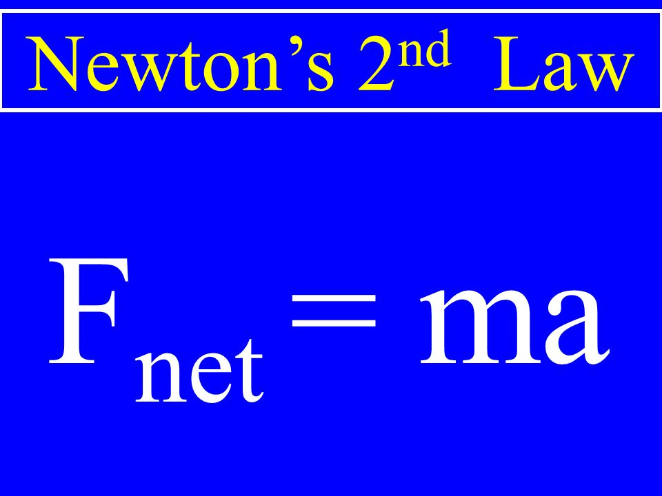 Newton's 2 nd Law F net = ma