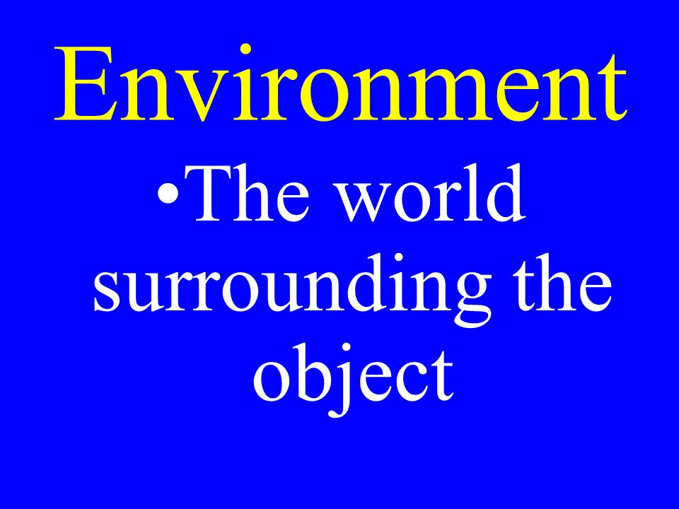 Environment The world surrounding the object