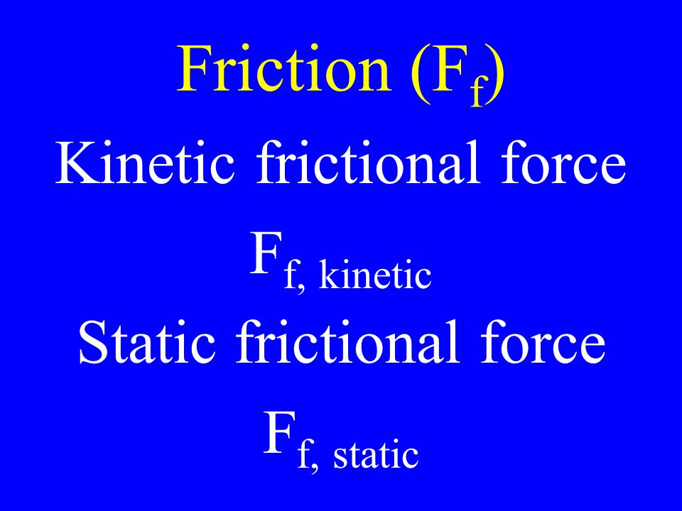 Friction (F f ) Kinetic frictional force F f, kinetic Static frictional force F f, static