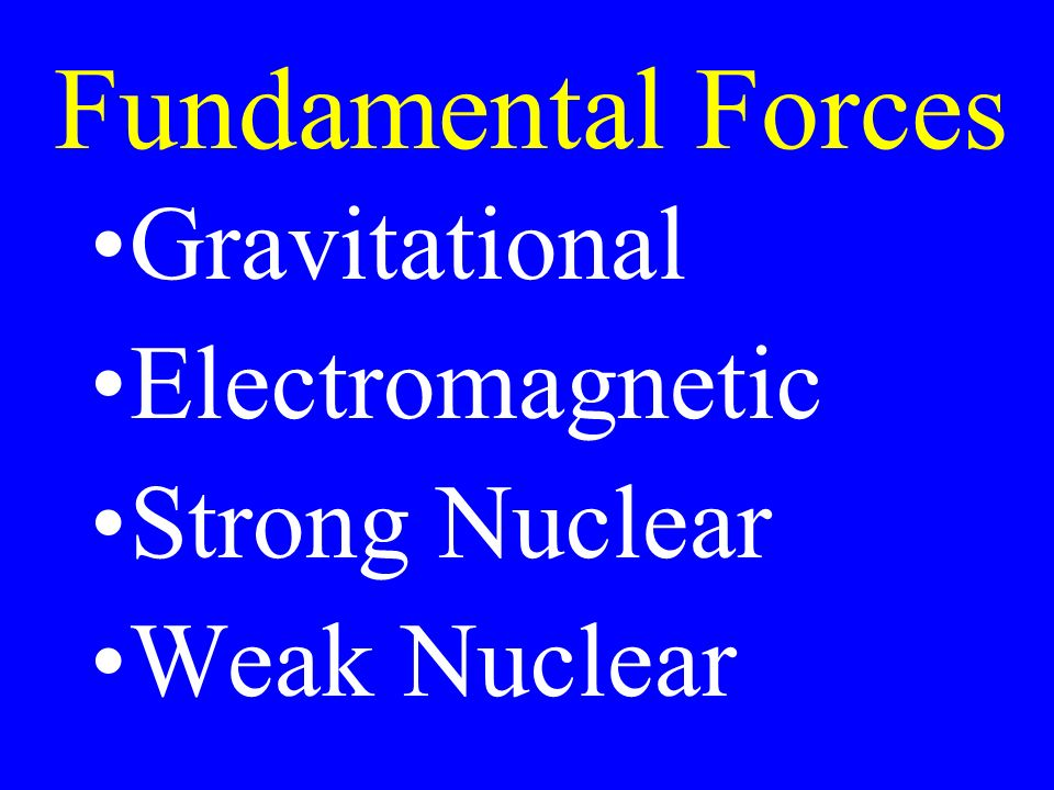 Fundamental Forces Gravitational Electromagnetic Strong Nuclear Weak Nuclear