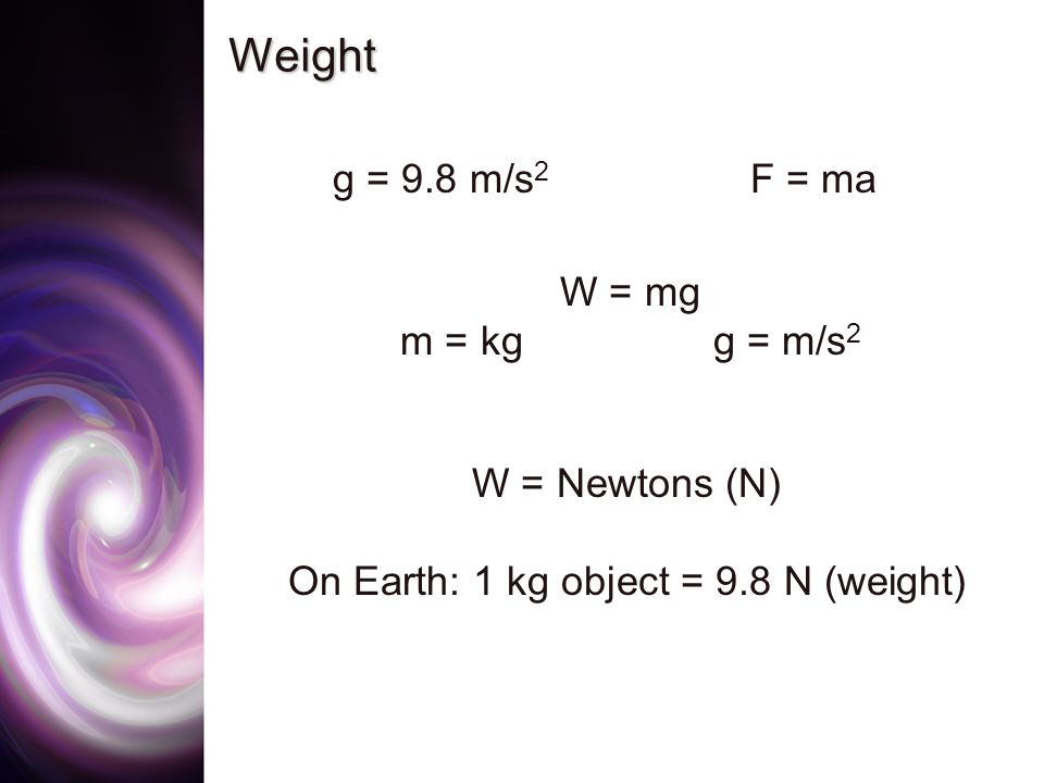 Weight g = 9.8 m/s 2 F = ma W = mg m = kgg = m/s 2 W = Newtons (N) On Earth: 1 kg object = 9.8 N (weight)