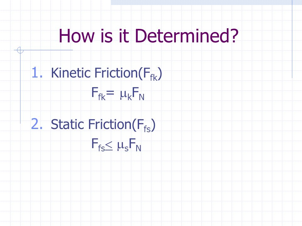 How is it Determined. 1. Kinetic Friction(F fk ) F fk =  k F N 2.