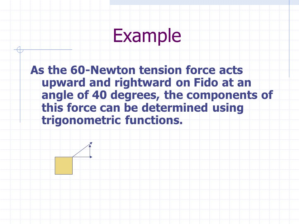 Example As the 60-Newton tension force acts upward and rightward on Fido at an angle of 40 degrees, the components of this force can be determined using trigonometric functions.