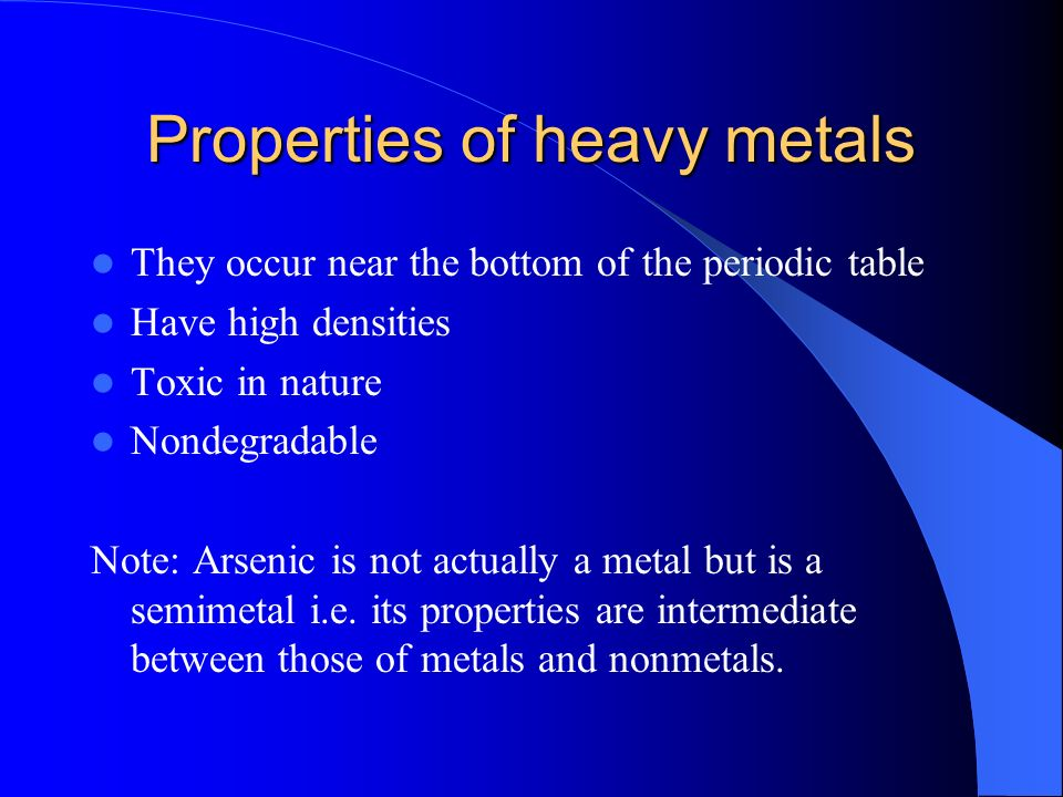 Iaq1 Heavy Metals Introduction Heavy Metals Are Toxic To