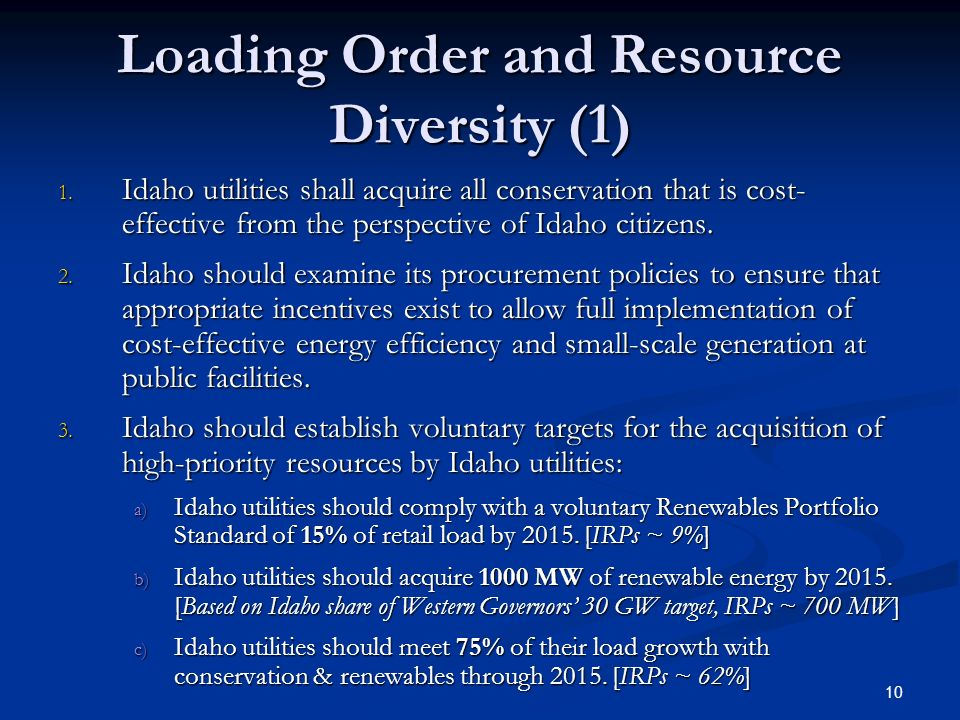 10 Loading Order and Resource Diversity (1) 1.