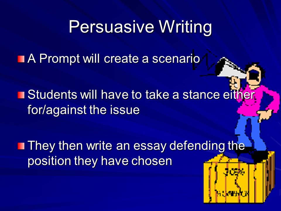 Persuasive Writing A Prompt will create a scenario Students will have to take a stance either for/against the issue They then write an essay defending the position they have chosen