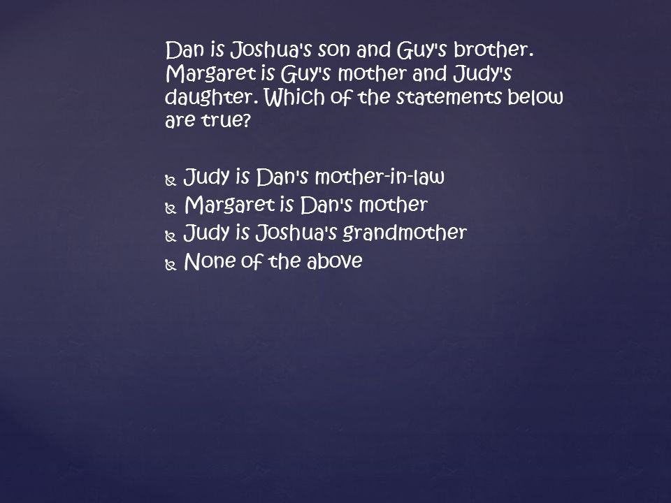 Dan is Joshua s son and Guy s brother. Margaret is Guy s mother and Judy s daughter.