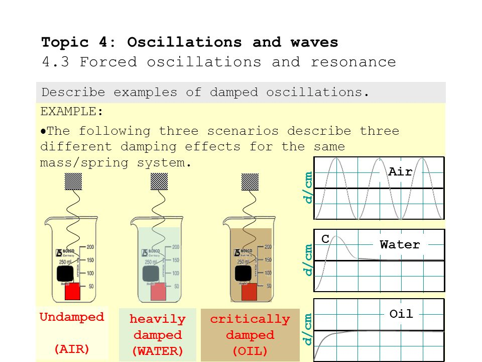 Damped oscillation examples