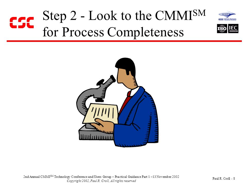 2nd Annual CMMI SM Technology Conference and Users Group – Practical Guidance Part 1 –13 November 2002 Copyright 2002, Paul R.