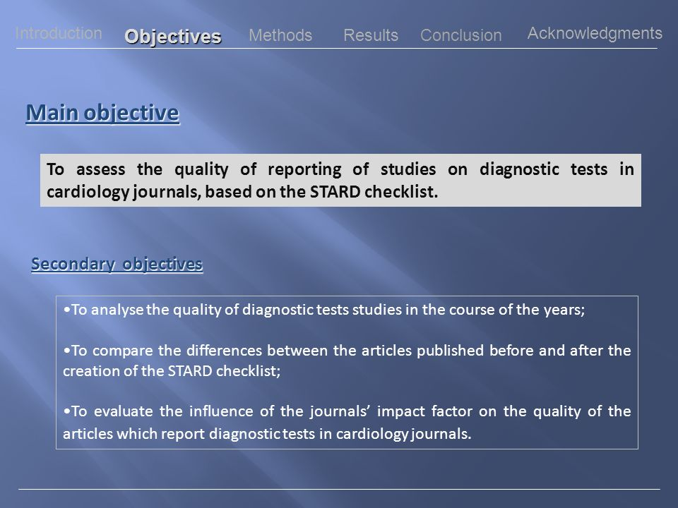 Completeness of reporting of studies of diagnostic accuracy in