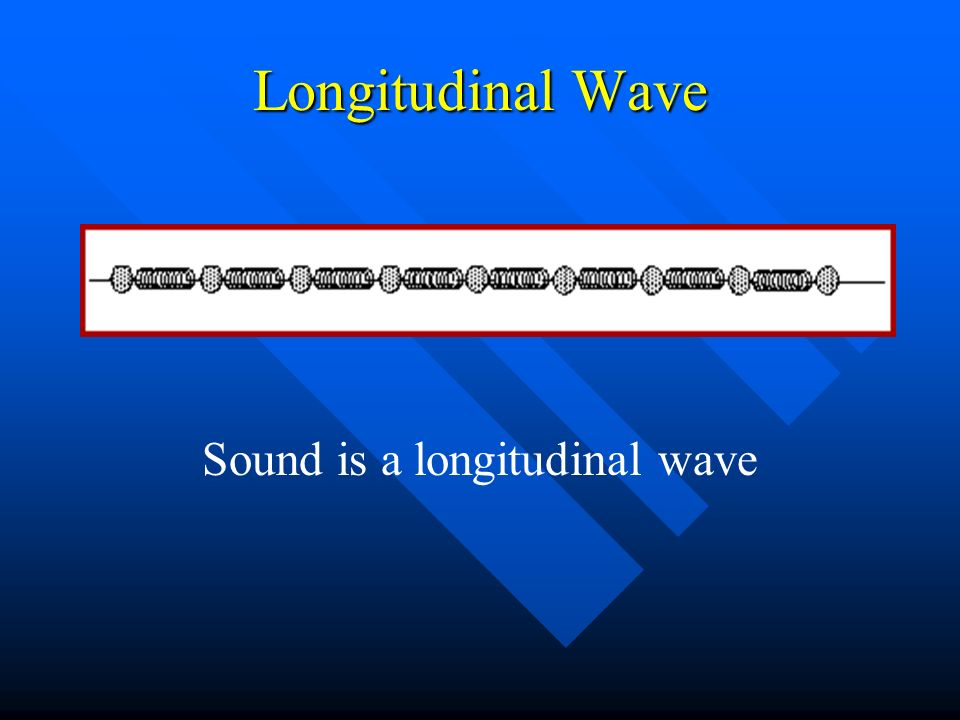 Longitudinal Wave Can be thought of as alternating compressions and expansions or rarefactions Can be thought of as alternating compressions and expansions or rarefactions