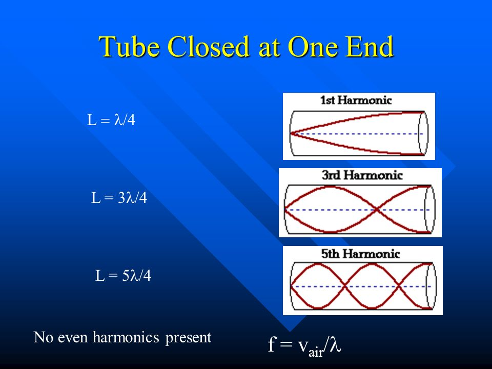 First Three Harmonics in Open Tube Amplitudes are largest at the open ends Amplitudes zero at the nodes
