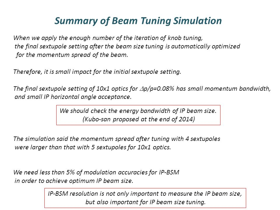 Summary of Beam Tuning Simulation When we apply the enough number of the iteration of knob tuning, the final sextupole setting after the beam size tuning is automatically optimized for the momentum spread of the beam.