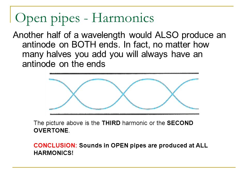 Open pipes - Harmonics Another half of a wavelength would ALSO produce an antinode on BOTH ends.