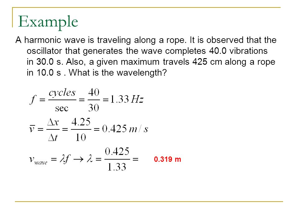 Example A harmonic wave is traveling along a rope.