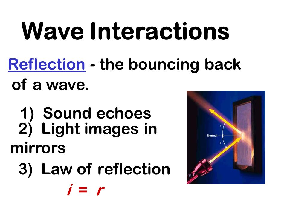 Wave Interactions Reflection - the bouncing back of a wave.