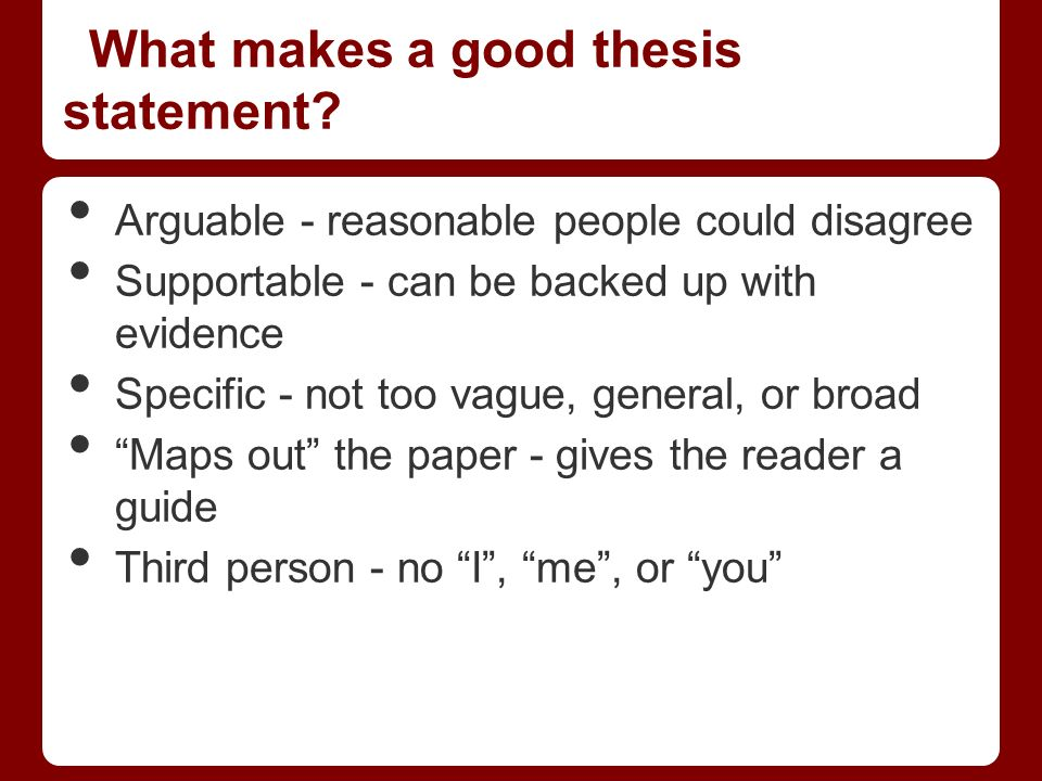 thesis statement written in third person