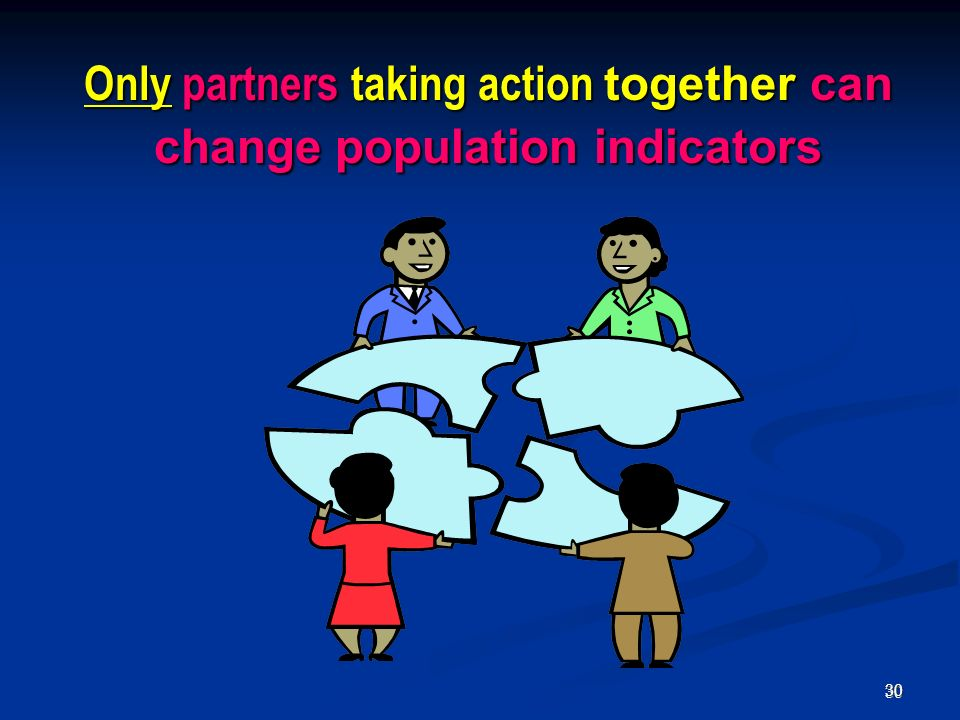 30 30 Only partners taking action together can change population indicators