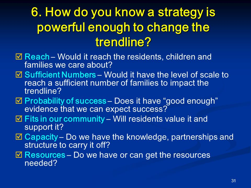 31 6. How do you know a strategy is powerful enough to change the trendline.