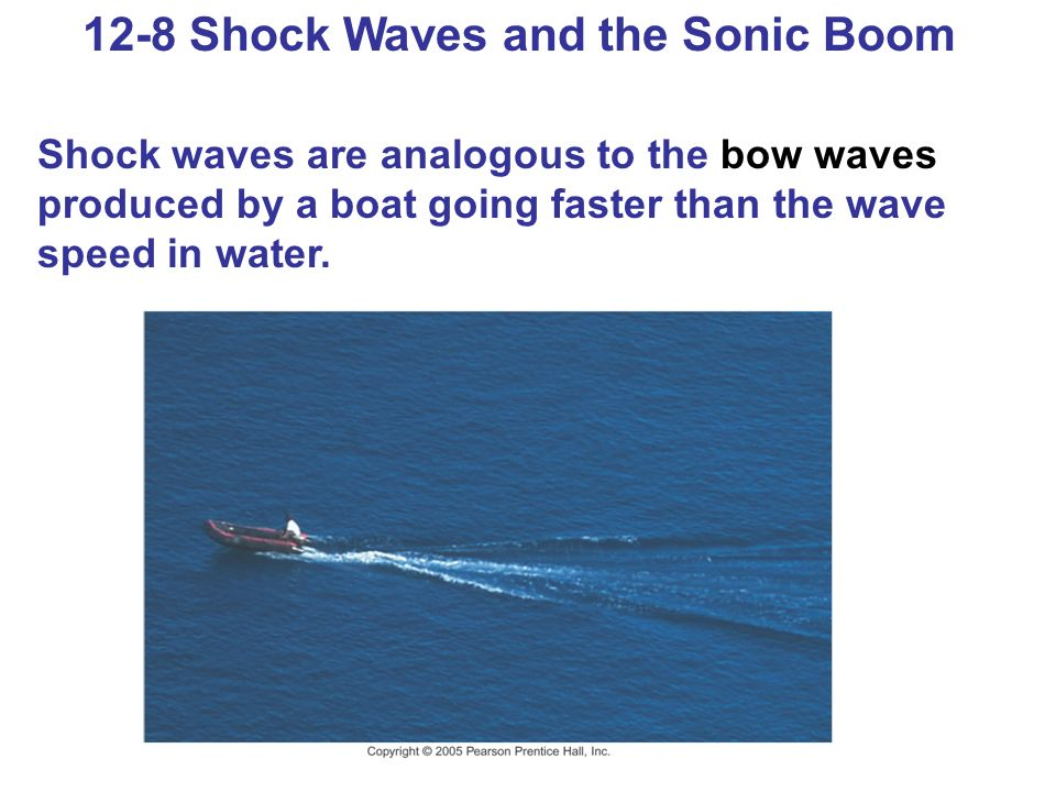 12-8 Shock Waves and the Sonic Boom Shock waves are analogous to the bow waves produced by a boat going faster than the wave speed in water.
