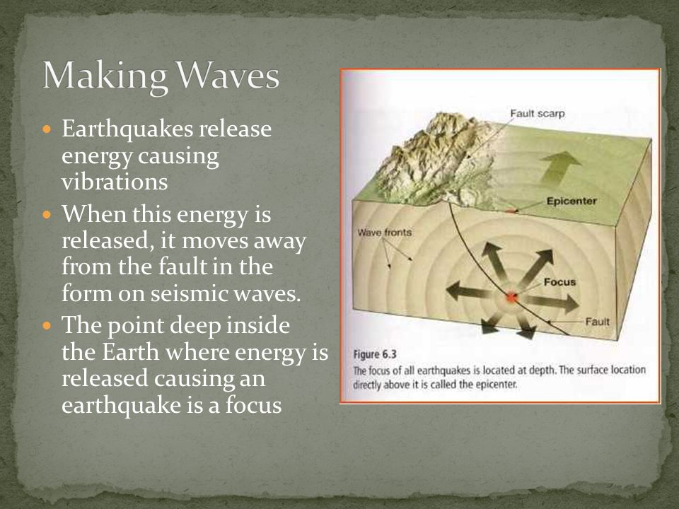 Earthquakes release energy causing vibrations When this energy is released, it moves away from the fault in the form on seismic waves.
