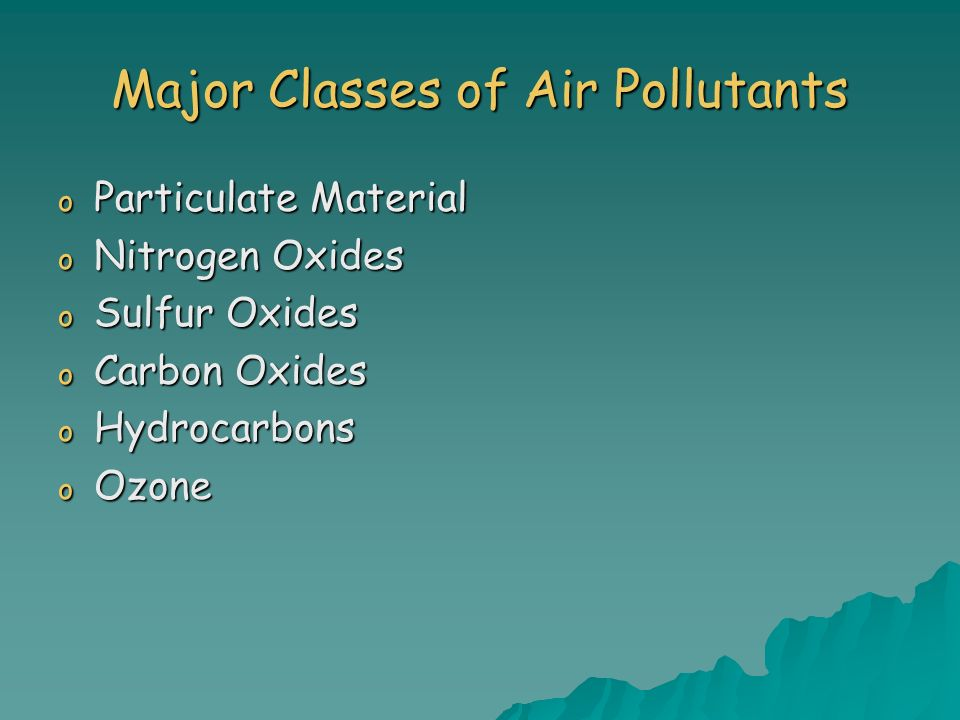 Major Classes of Air Pollutants o Particulate Material o Nitrogen Oxides o Sulfur Oxides o Carbon Oxides o Hydrocarbons o Ozone