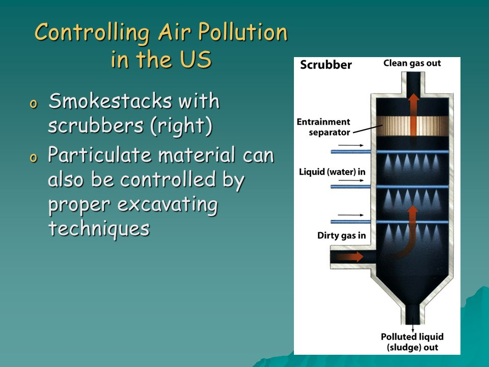 Controlling Air Pollution in the US o Smokestacks with scrubbers (right) o Particulate material can also be controlled by proper excavating techniques