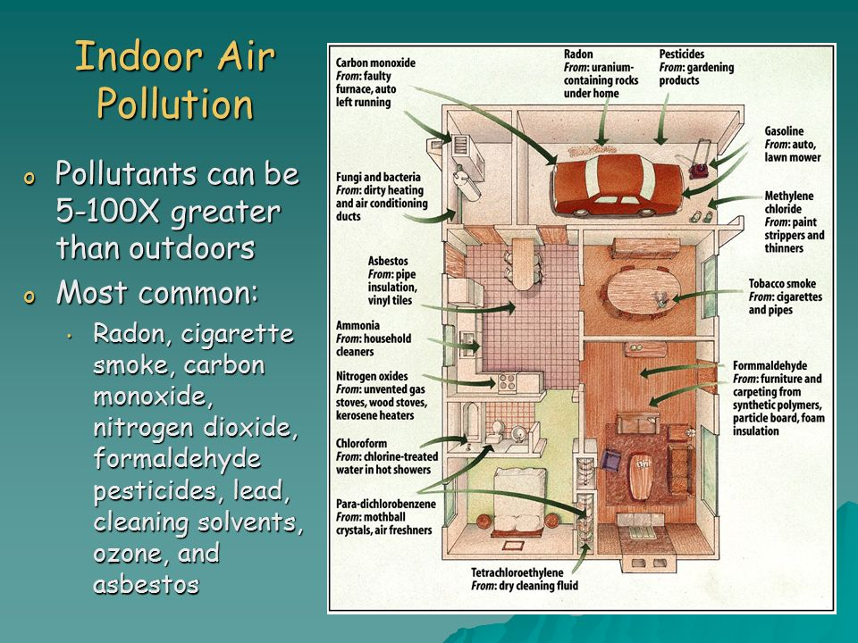 Indoor Air Pollution o Pollutants can be 5-100X greater than outdoors o Most common: Radon, cigarette smoke, carbon monoxide, nitrogen dioxide, formaldehyde pesticides, lead, cleaning solvents, ozone, and asbestos Radon, cigarette smoke, carbon monoxide, nitrogen dioxide, formaldehyde pesticides, lead, cleaning solvents, ozone, and asbestos