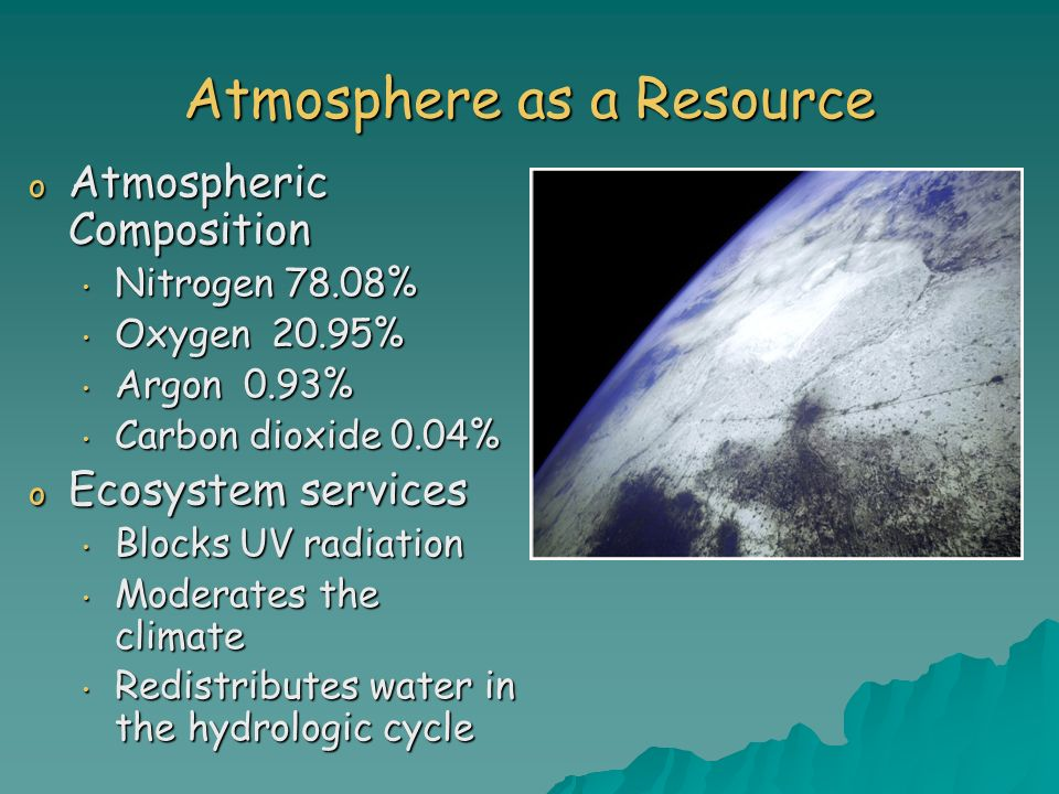 Atmosphere as a Resource o Atmospheric Composition Nitrogen 78.08% Nitrogen 78.08% Oxygen 20.95% Oxygen 20.95% Argon 0.93% Argon 0.93% Carbon dioxide 0.04% Carbon dioxide 0.04% o Ecosystem services Blocks UV radiation Blocks UV radiation Moderates the climate Moderates the climate Redistributes water in the hydrologic cycle Redistributes water in the hydrologic cycle
