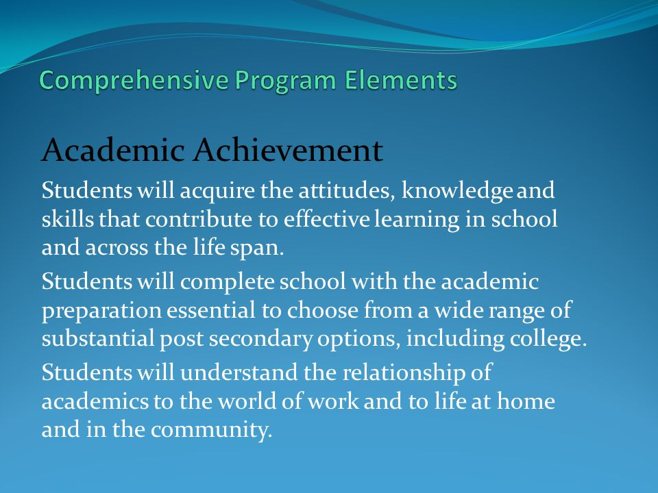 Comprehensive Program Elements