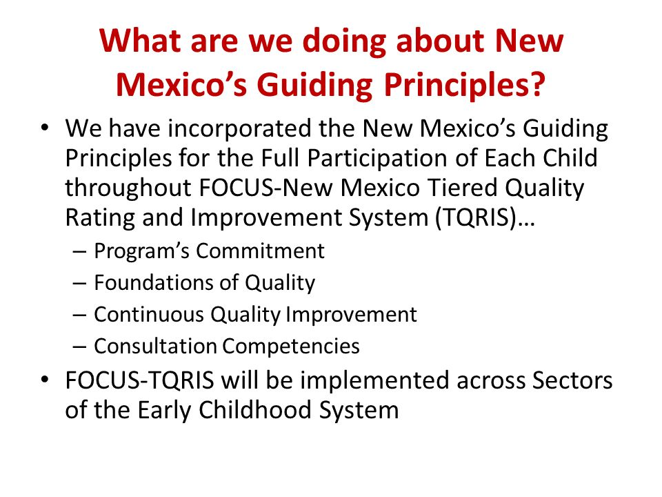 What are we doing about New Mexico's Guiding Principles.