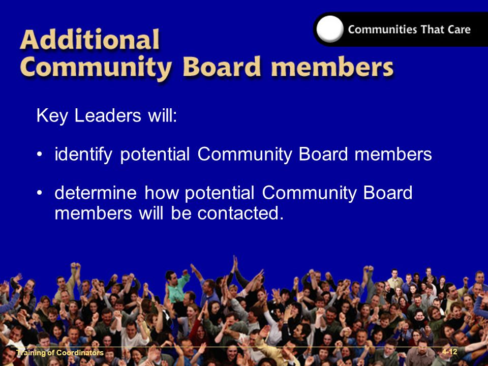1-2 Training of Process Facilitators Key Leaders will: identify potential Community Board members determine how potential Community Board members will be contacted.