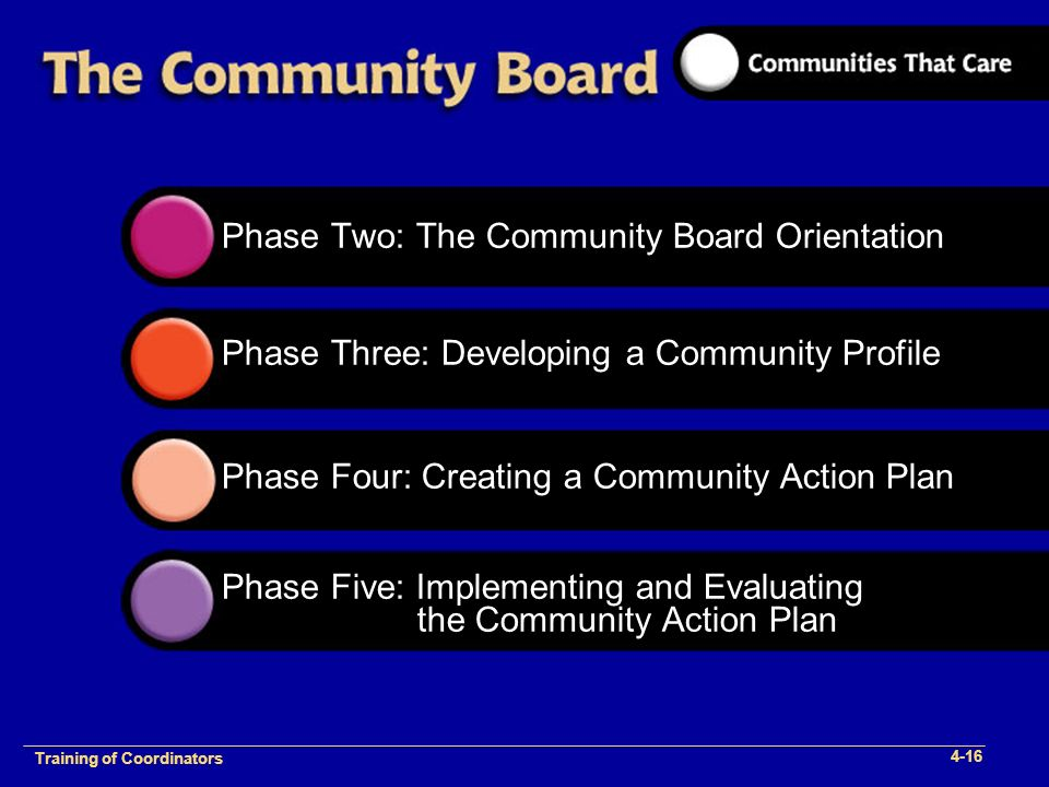 1-2 Training of Process Facilitators Phase Two: The Community Board Orientation Phase Three: Developing a Community Profile Phase Four: Creating a Community Action Plan Phase Five: Implementing and Evaluating the Community Action Plan Training of Coordinators 4-16