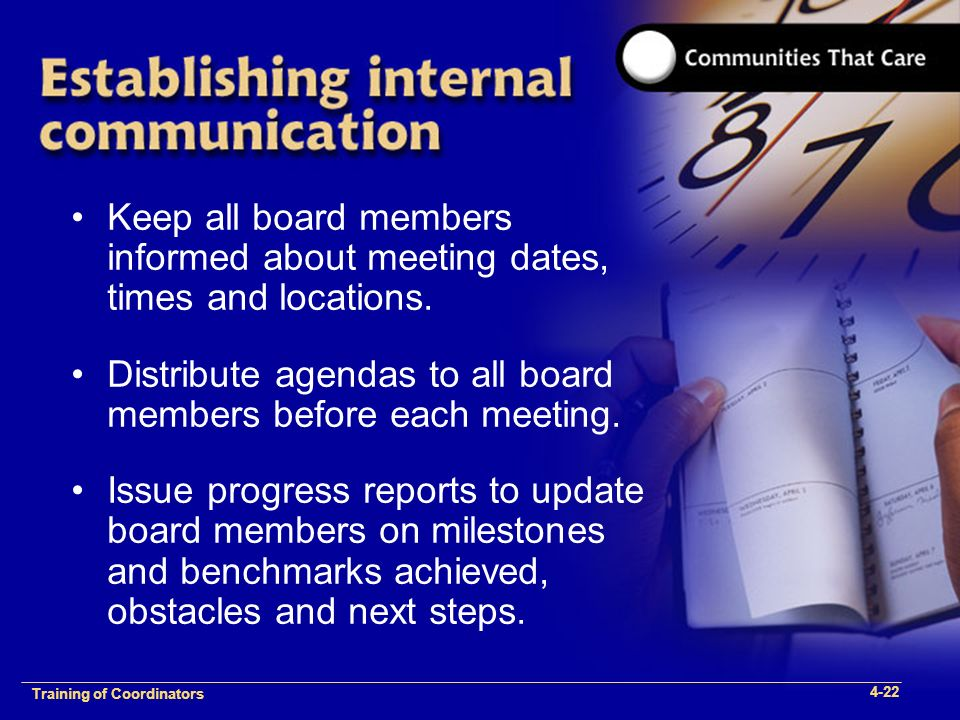 1-2 Training of Process Facilitators Keep all board members informed about meeting dates, times and locations.