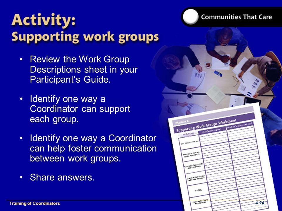 1-2 Training of Process Facilitators Review the Work Group Descriptions sheet in your Participant's Guide.