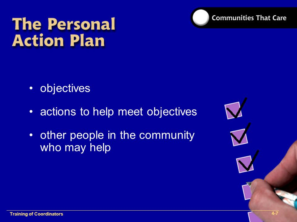 1-2 Training of Process Facilitators objectives actions to help meet objectives other people in the community who may help Training of Coordinators 4-7