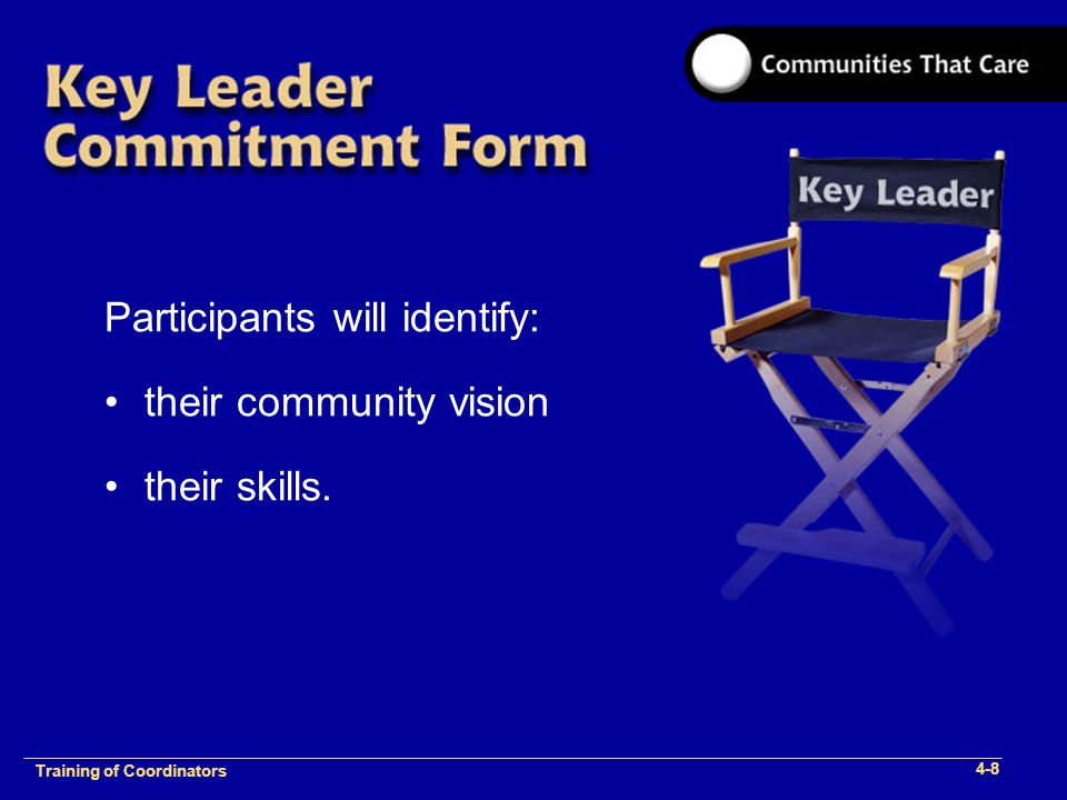 1-2 Training of Process Facilitators Participants will identify: their community vision their skills.
