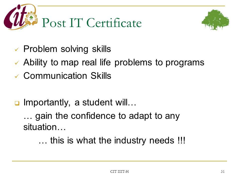 Certificate In Information Technology Cit Enhanceedu Iiit