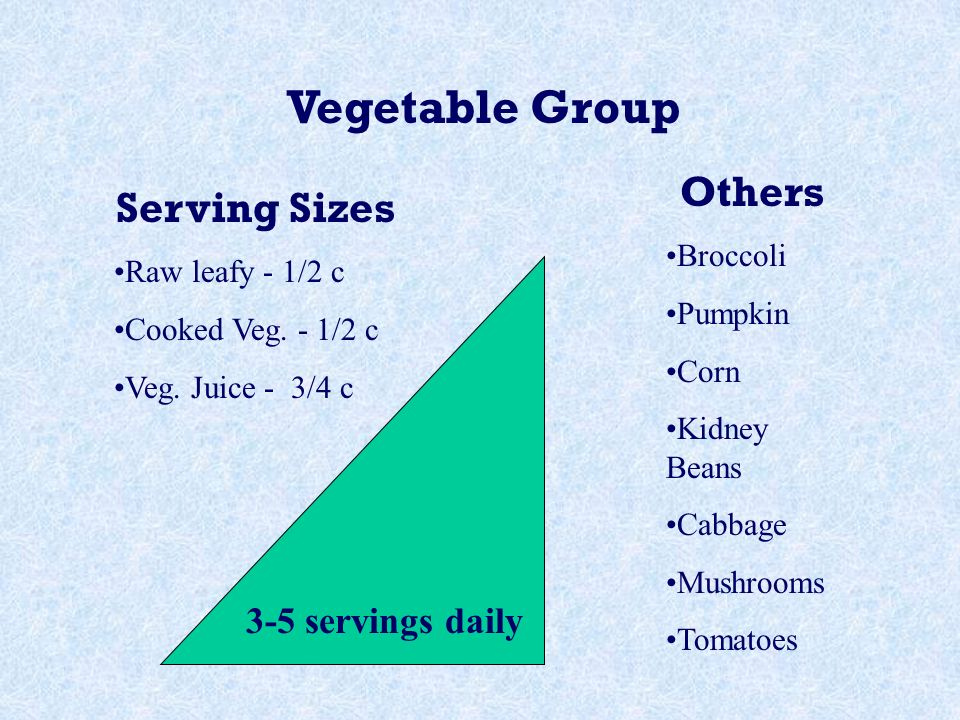 Vegetable Group 3-5 servings daily Serving Sizes Raw leafy - 1/2 c Cooked Veg.