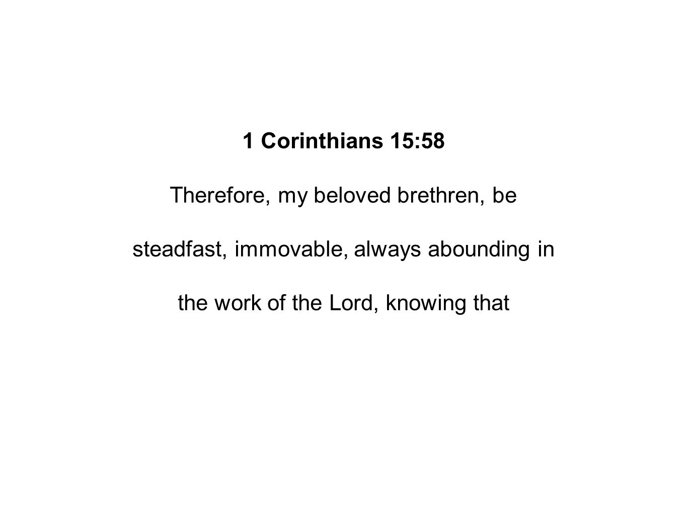 1 Corinthians 15:58 Therefore, my beloved brethren, be steadfast, immovable, always abounding in the work of the Lord, knowing that