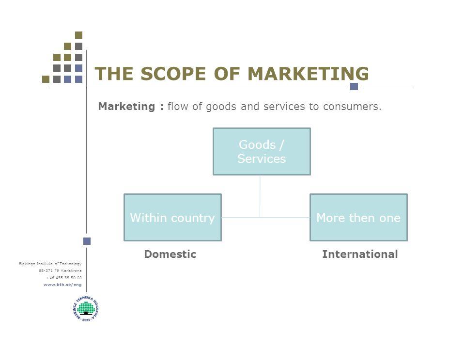 Blekinge Institute Of Technology SE Karlskrona THE SCOPE OF MARKETING Marketing Flow Goods And