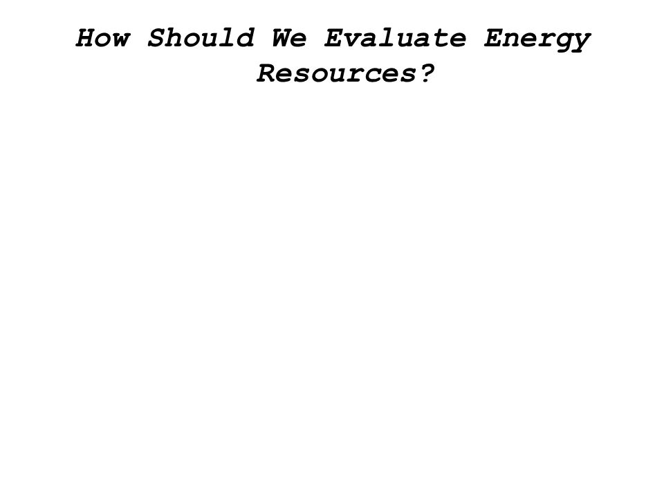 How Should We Evaluate Energy Resources