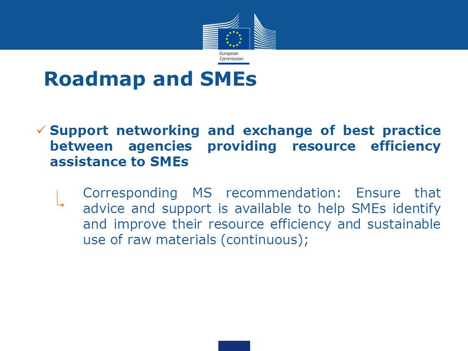 Roadmap and SMEs Support networking and exchange of best practice between agencies providing resource efficiency assistance to SMEs Corresponding MS recommendation: Ensure that advice and support is available to help SMEs identify and improve their resource efficiency and sustainable use of raw materials (continuous);