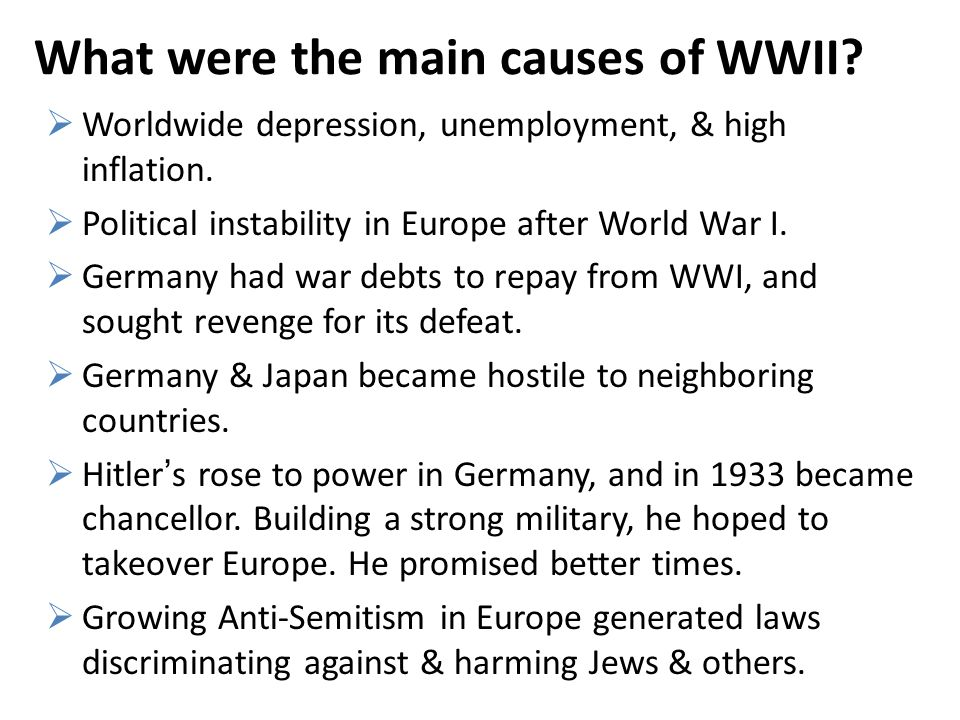 the cause of world war ii essay The idea that world war i was just a continuation of world war ii has been disputed by many however it is clear that it is a relative long term cause of the second world war, although nowhere near enough to start a war on its own.