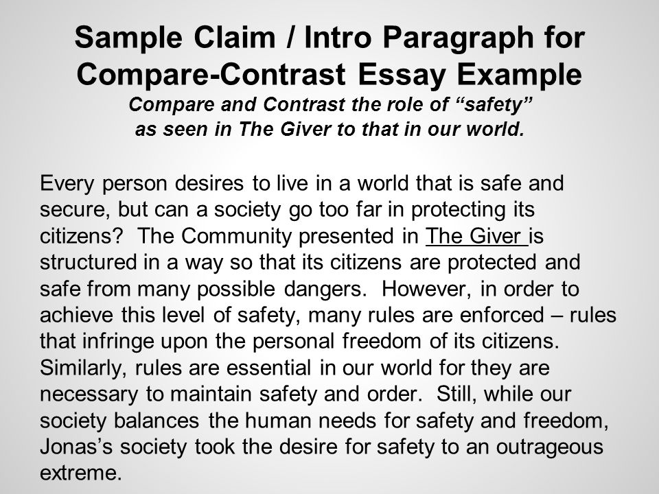 The Giver In Class Writing Assessment Read Through The Various  Sample Claim  Intro Paragraph For Comparecontrast Essay Example Compare  And Contrast The Role Sample Of English Essay also Cheap Essay Papers  Essay Proposal Template